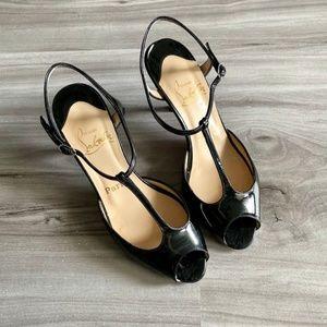 Christian Louboutin Black Strappy Peep Toe Heels